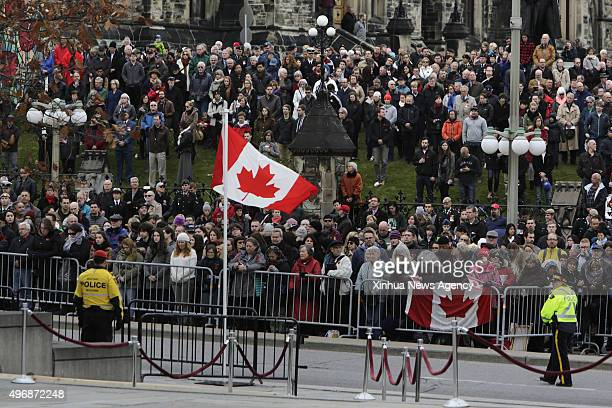 OTTAWA Nov 11 2015 People gather at the annual Remembrance Day ceremony at the National War Memorial in Ottawa Canada on Nov 11 2015 Every year on...