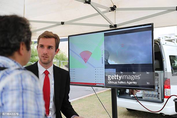 TEL AVIV Nov 16 2016 A visitor learns about a drone defense system during the 4th International Conference and Exhibition on Homeland Security and...