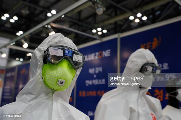 Nov. 18, 2020 -- Photo taken on Nov. 18, 2020 shows epidemic prevention products displayed during 2020 South Korea Defense & Security Expo at Korea...