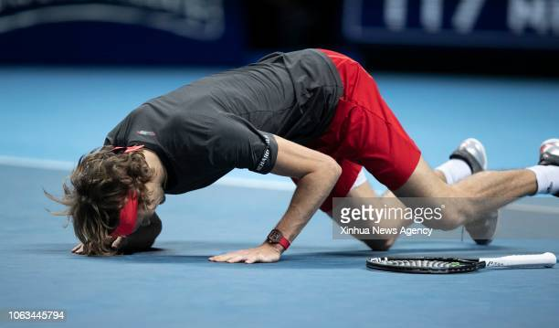 LONDON Nov 19 2018 Alexander Zverev of Germany celebrates after the singles final against Novak Djokovic of Serbia during Day 8 of the 2018 Nitto ATP...