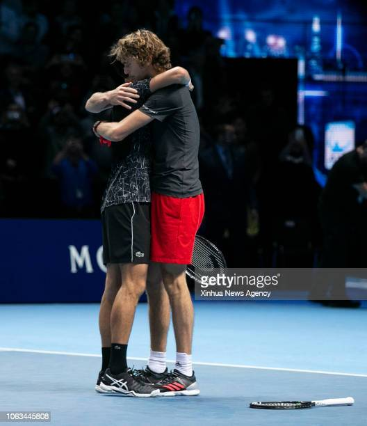 LONDON Nov 19 2018 Novak Djokovic L of Serbia congratulates Alexander Zverev of Germany after the singles final during Day 8 of the 2018 Nitto ATP...