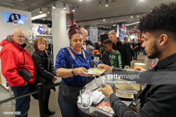 NEW YORK Nov 19 2018 Participants line up to taste Xiaolongbao or steamed soup dumplings during the Shanghai Food Festival and Tourism Promotion at...