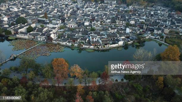 Nov. 19, 2019 -- Aerial photo taken on Nov. 15, 2019 shows the winter scenery of Hongcun Village scenic spot in Yixian County of east China's Anhui...