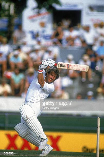 Ian Botham of England hooks the ball for another boundary on his way to 138 against Australia in the First Test at the Gabba in Brisbane Australia...