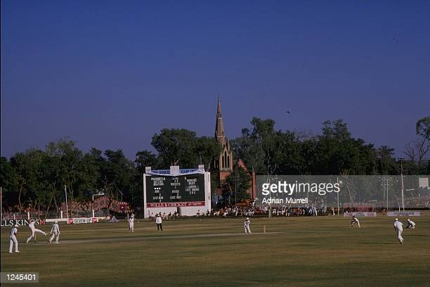General view during the third day of the match between the Presidents XI and England at Rawalpindi.