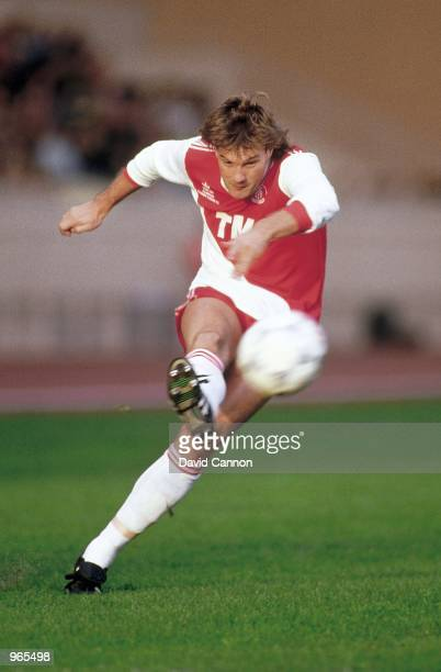 Glenn Hoddle of Monaco crosses the ball during the Friendly match against Rangers played at the Stade Louis II Stadium in Monaco The match ended in a...