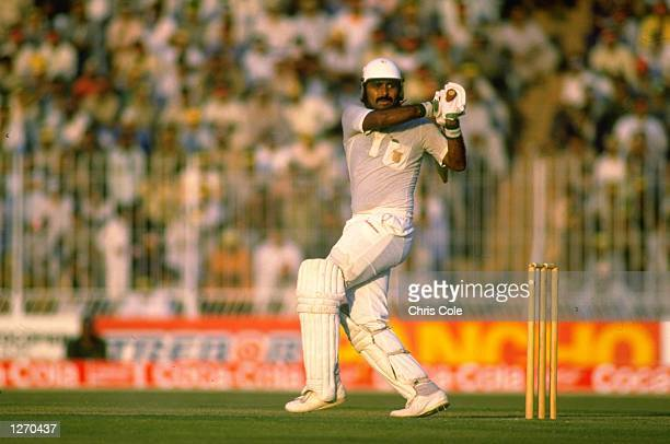 Javed Miandad of Pakistan in action during the World Cup semifinal against Australia at Gaddafi Stadium in Lahore Pakistan Mandatory Credit Chris...