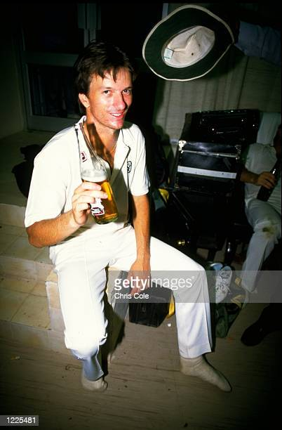 Steve Waugh of Australia celebrates with a bottle of beer after the World Cup final against Australia in Calcutta India Mandatory Credit Chris...