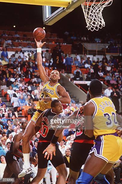 Center Kareem AbdulJabbar of the Los Angeles Lakers shoots a sky hook during the Lakers versus Portland Trailblazers game at the Great Western Forum...