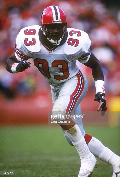 Linebacker Aundray Bruce of the Atlanta Falcons in action during a game against the San Francisco 49ers at Candlestick Park in San Francisco...