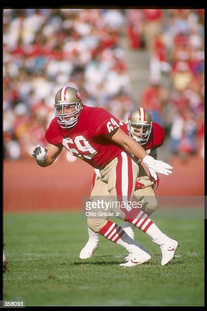 Offensive lineman Bruce Collie of the San Francisco 49ers works against the Atlanta Falcons during a game at Candlestick Park in San Francisco,...