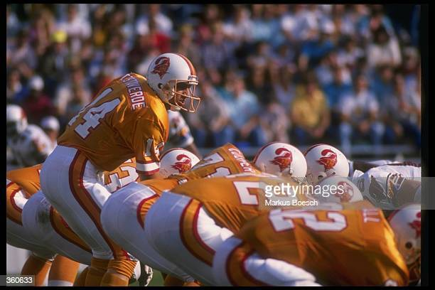 Quarterback Vinny Testaverde of the Tampa Bay Buccaneers stands behind center during a game against the Phoenix Cardinals at Tampa Stadium in Tampa...