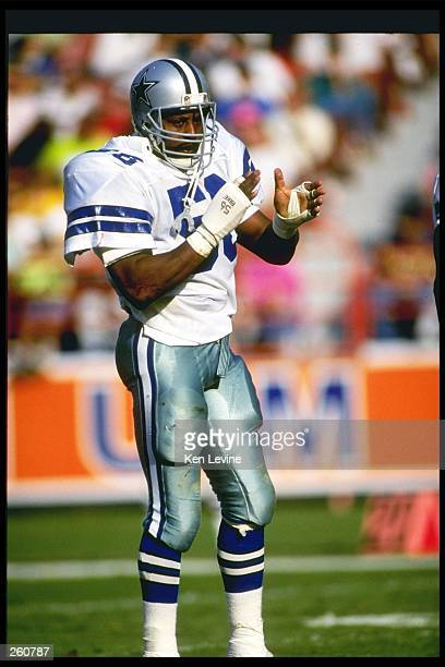 Linebacker Eugene Lockhart of the Dallas Cowboys looks on during a game against the Los Angeles Rams at Anaheim Stadium in Anaheim California The...