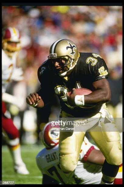 Running back Craig Heyward of the New Orleans Saints moves the ball during a game against the Washington Redskins at RFK Stadium in Washington D C...