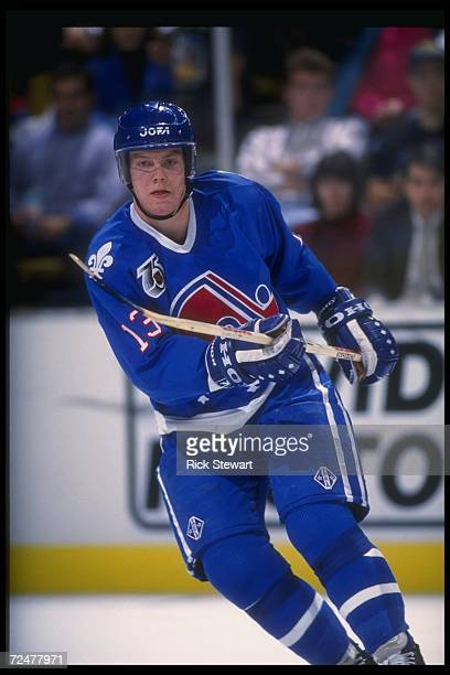 Rightwinger Mats Sundin of the Quebec Nordiques moves down the ice during a game against the Buffalo Sabres at Memorial Auditorium in Buffalo New...