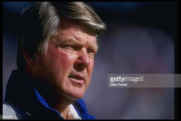Dallas Cowboys head coach Jimmy Johnson looks on during a game against the Phoenix Cardinals at Texas Stadium in Irving Texas The Cowboys won the...