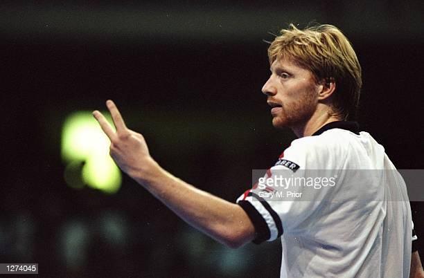 Profile of Boris Becker of Germany during the ATP Tour finals in Frankfurt Germany Mandatory Credit Gary M Prior/Allsport