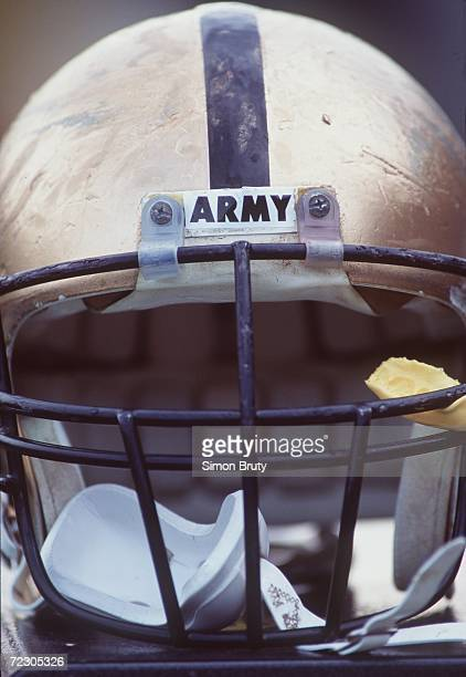 An Army helmet sits on the bench during the Army 106 loss to Air Force game Mandatory Credit Simon Bruty/ALLSPORT