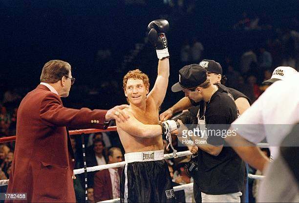 Danny Bonaduce celebrates after a bout against Rick Kirkham in Las Vegas Nevada Bonaduce won the fight in the third round Mandatory Credit Holly...