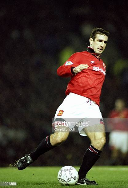 Eric Cantona of Manchester United in action during an FA Carling Premiership match against Manchester City at Old Trafford in Manchester England...
