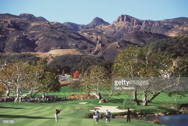 FRED COUPLES OF THE USA HITS HIS APPROACH TO THE FOURTH GREEN DURING THE 1994 SHARK SHOOTOUT AT SHERWOOD COUNTRY CLUB IN THOUSAND OAKS, CALIFORNIA.
