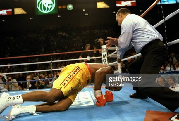 Michael Moorer on the canvas during a bout against George Foreman in Las Vegas, Nevada. Foreman won the fight with a 10th round knockout. Mandatory...