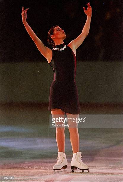 Nancy Kerrigan does her routine during a competition against the world in New York City, New York. Mandatory Credit: Simon Bruty /Allsport