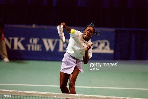 Venus Williams in action on the court at the Bank of the West