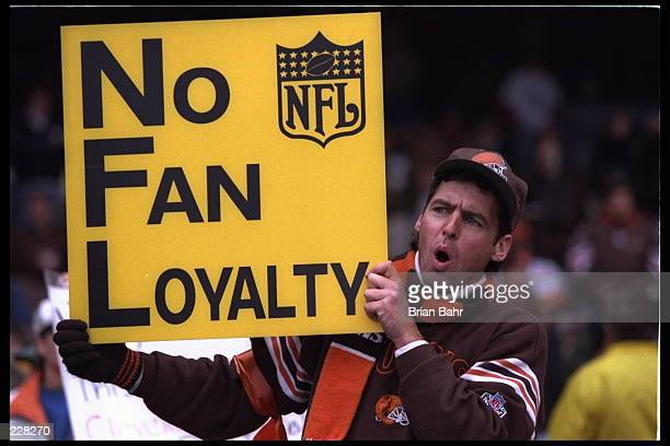 A fan of the Cleveland Browns at Cleveland Municipal Stadium in Cleveland Ohio brings up the issue of teams in the NFL being loyal to their fans...