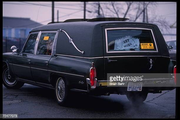 A hearse signifies the death of the Cleveland Browns at Cleveland Stadium in Cleveland Ohio as this is the last season before the team moves to...