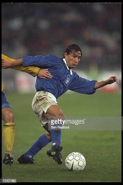 Antonio Benarrivo of Italy on the ball during the European Championships qualifier against the Ukraine