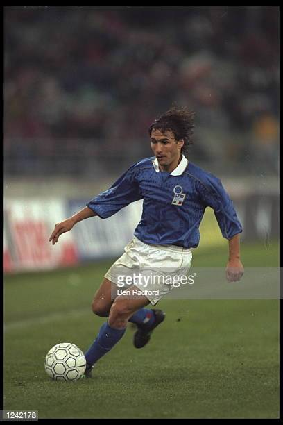 Antonio Benarrivo of Italy on the ball in the game against the Ukraine during the European Championships qualifier