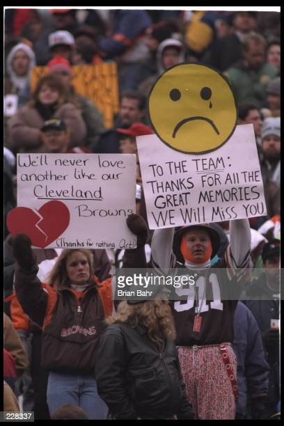 Fans of the Cleveland Browns at Cleveland Municipal Stadium in Cleveland Ohio express their disappointment and sense of unfairness at the fact their...