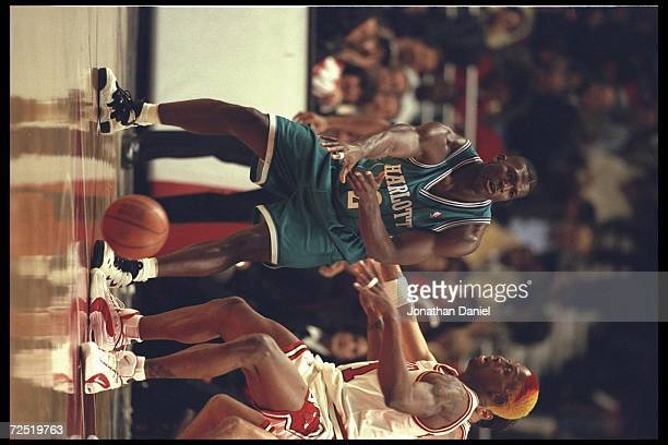 Forward Larry Johnson of the Charlotte Hornets bounce passes around guard Dennis Rodman of the Chicago Bulls at the United Center in Chicago Illinois...