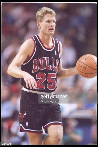 Guard Steve Kerr of the Chicago Bulls moves down the court during a game against the Orlando Magic at the Orlando Arena in Orlando Florida The Magic...