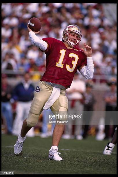 Quarterback Danny Kanell of the Florida State Seminoles delivers a pass during the Seminoles 5917 victory over the Maryland Terrapins at Doak S...