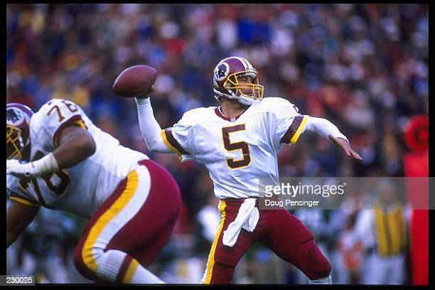 Quarterback Heath Shuler of the Washington Redskins sets to throw during the NFC match up against the Philadelphia Eagles The Eagles defeated the...