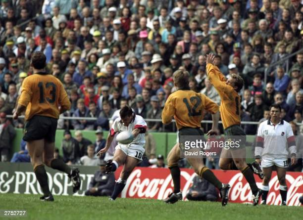 Rob Andrew of England kicks the vital drop goal in the Rugby World Cup quarter final against Australia to win the game 2522 in Cape Town South Africa