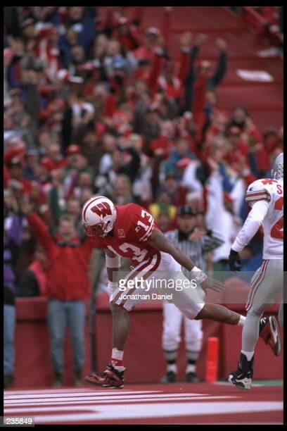 Running back Carl McCullough of Wisconsin University scores a touchdown during the Badgers 2716 loss to Ohio State University at Camp Randall Stadium...