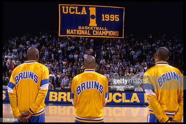 The banner ceremony celebrating UCLA's championship record takes place at the Pauley Pavilion in Los Angeles California before the game against the...