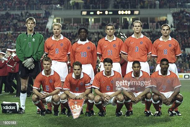 A group photograph of the Holland team before the World Cup qualifying match against Wales at the Philips Stadium in Eindhoven Holland Holland won...