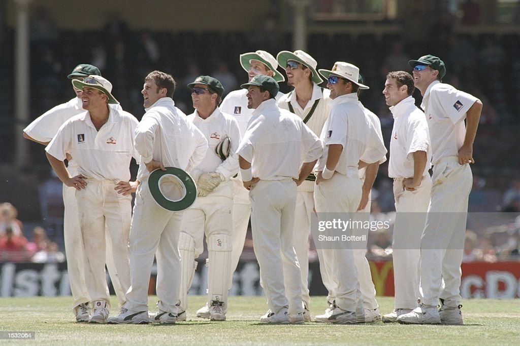 Australia watch the replay of Mark Taylor's catch to dismiss Carl Hooper : News Photo