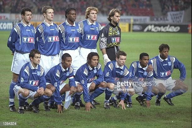 Auxerre team lineup before the champions league match between Ajax of Amsterdam and Auxerre in Amsterdam Holland The match was won by Auxerre 12...