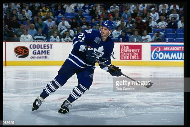 Center Kirk Muller of the Toronto Maple Leafs moves down the ice during a game against the Buffalo Sabres at the Marine Midland Arena in Buffalo, New...