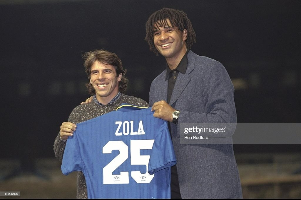 Chelsea new signing Gianfranco Zola meets the press with manager Ruud Gullit (right) at Stamford Bridge in London. Mandatory Credit: Ben Radford/Allsport
