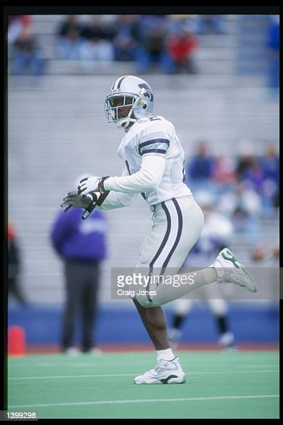 Cornerback Chris Canty of the Kansas State Wildcats runs down the field during a game against the Kansas Jayhawks at Memorial Stadium in Lawrence...