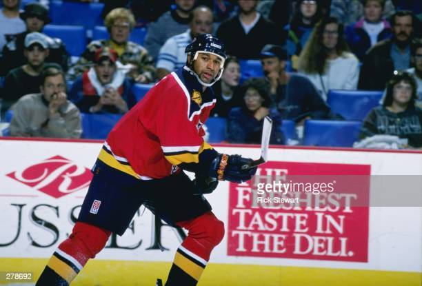 Craig Martin of the Florida Panthers moves down the ice during a game against the Buffalo Sabres at the Marine Midland Arena in Buffalo, New York....