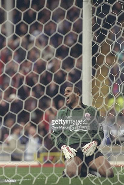 Despair for Liverpool goalkeeper David James as he sees the third Blackburn goal go into the net during the FA Carling Premier league match between...