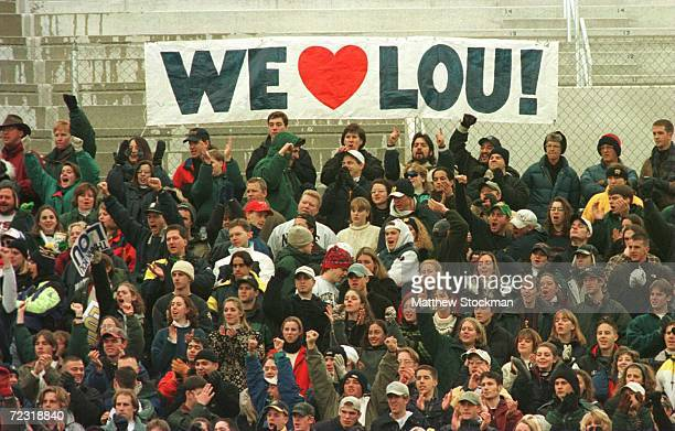 Fans of the Notre Dame Fighting Irish sit in the Notre Dame student section display their affection for head coach Lou Holtz as he coaches his last...