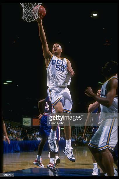 Forward J R Henderson of the UCLA Bruins goes up for two during a game against the Atheletes in Action at Pauley Pavilion in Los Angeles California...